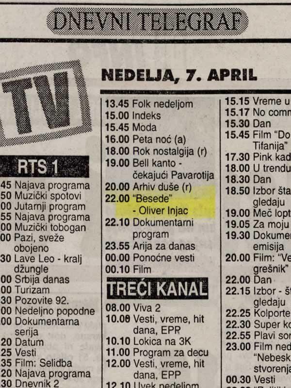 Dnevni telegraf, Beograd, 7.4.1996.