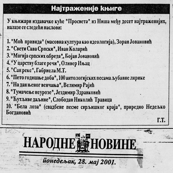 Narodne novine, Niš, 28.5.2001.